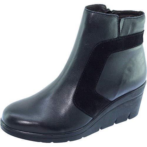 zeppa scarpe Sala Comode Pelle nera Graphic Aerobica stabili Stivaletti Feet Sensitive con Zeppe Donna di Comfort marca 0YXYqwd
