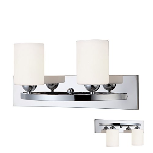 Chrome 2 Globe Vanity Bath Light Bar Interior Lighting Fixture (Satin Nickel Flat Wall Lamp)