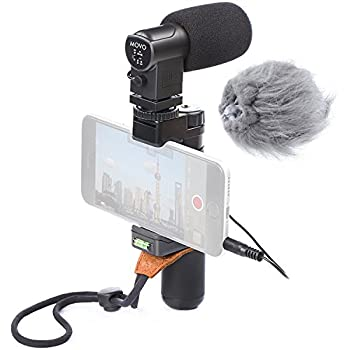 Movo Smartphone Video Rig with Stereo Microphone, Grip Handle, Wrist Strap for iPhone 5, 5C, 5S, 6, 6S, 7, 8, X (Regular and Plus), Samsung Galaxy, Note and More