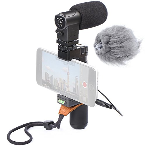 Movo Smartphone Video Rig with Stereo Microphone, Grip Handle, Wrist Strap for iPhone 5, 5C, 5S, 6, 6S, 7, 8, X (Regular and Plus), Samsung Galaxy, Note and More by Movo