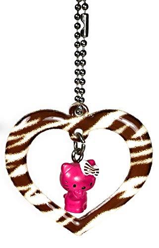 Hello Kitty Animal Print Heart Mini Mascot Figure Charm - Brown - Print Kitty Zebra Hello