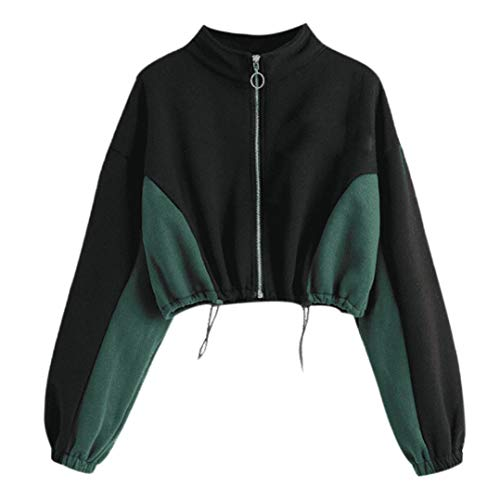 Women Bomber Jacket Color Block Full Zipper Crop Sweatshirt Fall Long Sleeve Top(Black ,X-Large) ()