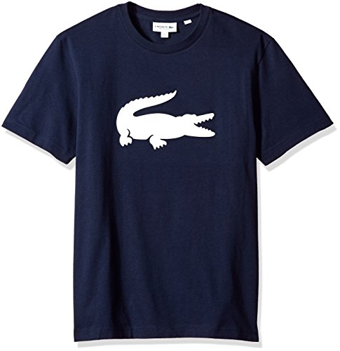 Lacoste+Men%27s+Short+Sleeve+Jersey+with+Big+Tonal+Croc+Printed+T-Shirt%2C+TH9428%2C+Navy+Blue%2FWhite%2C+X-Large