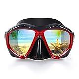 EXP VISION Snorkel Diving Mask Set, Panoramic HD Scuba Swim Mask, Tempered Anti-Fog Lens Glasses Snorkel Goggles, Scuba Dive Snorkel Mask with Silicone Skirt Strap for Dry Snorkeling, Swimming (Red)