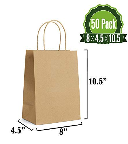Brown Kraft Paper Gift Bags Bulk with Handles 8 X 4.5 X 10.5 [50Pcs]. Ideal for Shopping, Packaging, Retail, Party, Craft, Gifts, Wedding, Recycled, Business, Goody and Merchandise Bag