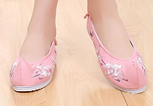 Avacostume Femmes Imitation Ox-tendon Semelle Papillon Fleur Broderie Chaussures Plates Rose