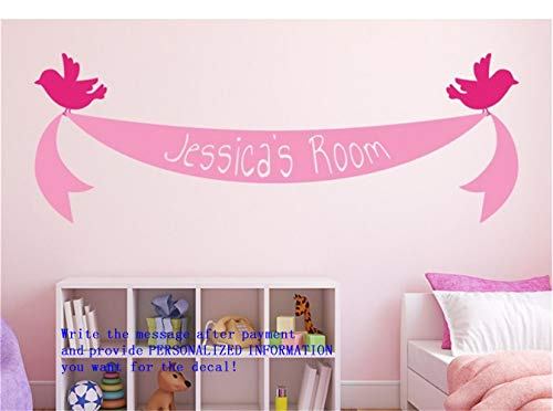 (Vinyl Saying Lettering Wall Art Inspirational Sign Wall Quote Decor Bird Ribbon Banner with Personalized Name for Nursery Kids Room Or Bedroom)