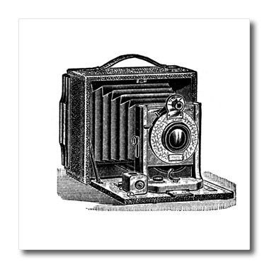 3dRose ht_161554_1 Black and White Vintage Camera Ink and Pen Drawing Print Old-Fashioned Photography Photographer Iron on Heat Transfer for White Material, 8