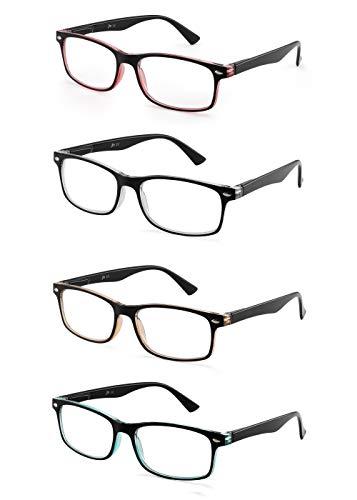 JM Set of 4 Reading Glasses Vintage Rectangular Spring Hinge Readers for Men Women +1.5 Mix Color