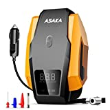 ASAKA Tire Inflator, Portable Air Compressor Auto Tire Pump DC 12V Digital Air Pump with LED Light for Car Tires, Bicycle, Motorcycle, Balls and Other Inflatables