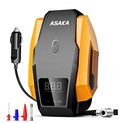 ASAKA Tire Inflator Tire Pump Portable Auto Air Compressor for car, DC 12V Digital Air Pump 12V Air Inflator with LED Light for Car Tires, Bicycle, Motorcycle, Balls and Other Inflatable