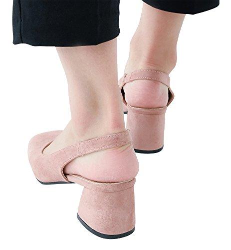 Annakastle Womens Vegan Scamosciato Tacco Medio Pompe Slingback Scarpe Da Giorno Rosa
