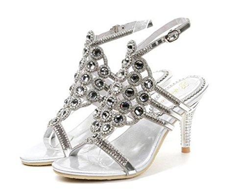 De Mujer Heel Vestido Sandalias Glitter Banquete Tarde Rhinestone Diamante Fiesta Boda Bombas Kitten Discoteca Nvxie 42 Silver A 35 Tamaño Nupcial Crystal Zapatos wxqpaF