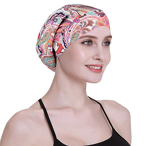 Satin Lined Sleep Cap for Long Hair Women Casual Slouchy Beanie Wig Headwear Pink Feminine ()
