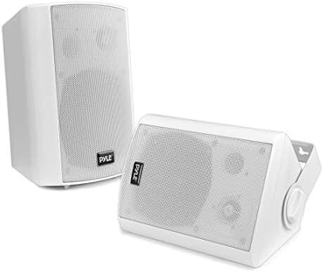 Pyle PDWR61BTWT Wall Mount Waterproof & Bluetooth Speakers, 6.5'' Indoor/Outdoor Speaker System (White)