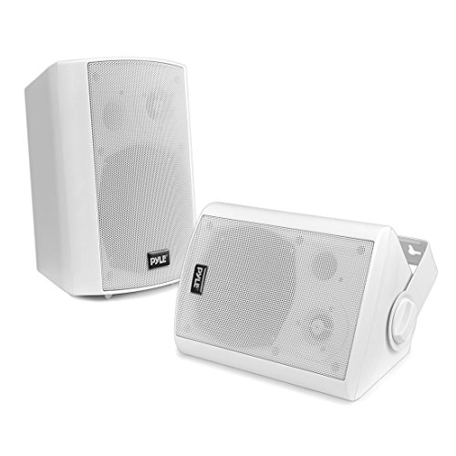 Outdoor Wall-Mount Patio Stereo Speaker - Waterproof Bluetooth Wireless & No Amplifier Needed - Portable Electric Theater Sound Surround System for Home Party Cabinet Enclosure- Pyle PDWR61BTWT