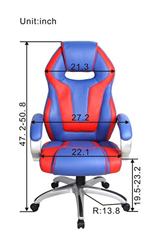 41oUNRvGsAL - VIVA-OFFICE-High-Back-Bonded-Leather-Racing-Style-Gaming-Chair-with-Padded-HeadrestRed-and-Blue