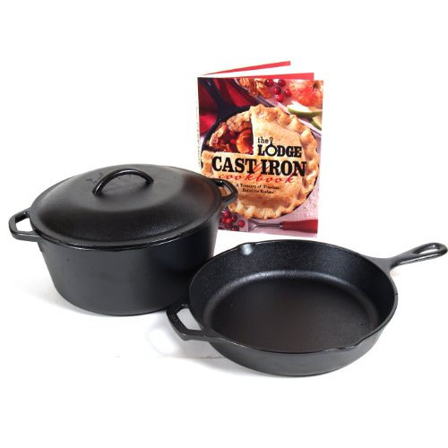 Lodge Logic 4 Piece Seasoned Cast Iron Skillet and Dutch Oven Set with Cookbook