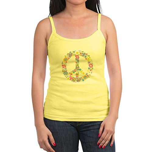 Royal Lion Jr. Spaghetti Tank Floral Peace Symbol Sign - Lemon, Medium