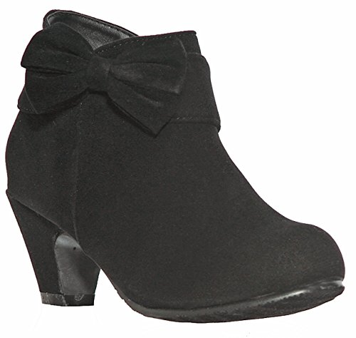 shoewhatever Low Heel Ankle Boots with Bow for Girls (12, Black) [Apparel] - Bow Ankle Boot