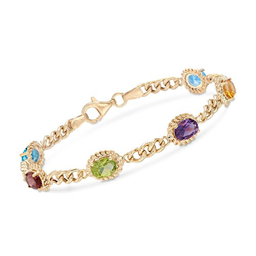 Ross-Simons 5.00 ct. t.w. Multi-Stone Link Bracelet in 18kt Gold Over Sterling Silver -
