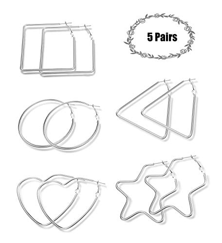 Hanpabum 5 Pairs Hoop Earrings for Women Girls Big Large Dangle Circle Fashion Star Heart Round Triangle Square Thin Hoop Earrings Set (A) ()