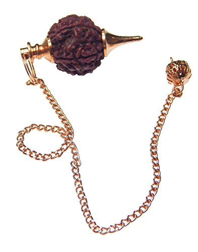 Myhealingworld Rudraksha Bead Copper Metal Dowsing Healing Pendulum With Metal Chain Divination Reiki Meditation Yoga Balancing Pendent - Wire Necklace Seven Diamonds Diamond