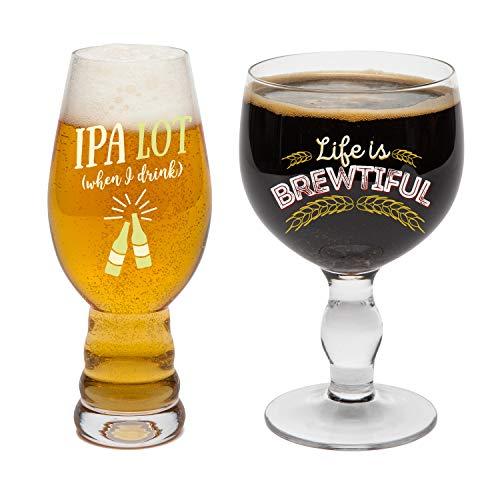 BigMouth Inc. Beer Snob Glass Set - Pint Glass Gift Set Includes One 16 oz Chalice and One 16 oz Pokal-Style Beer Glass with Funny Graphics, Hand-Wash - Makes a Great Gift