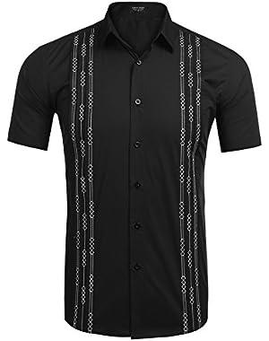 Mens Short Sleeve Guayabera Cuban Shirt Wedding Party Beach Dress Shirt