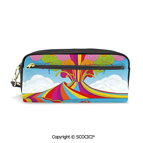 Students PU Pencil Case Pouch Women Purse Wallet Bag Skyline of Naples and Vesuvio in Rainbow Eruption Themed Artistic Illustration Decorative Waterproof Large Capacity Hand Mini Cosmetic Makeup Bag