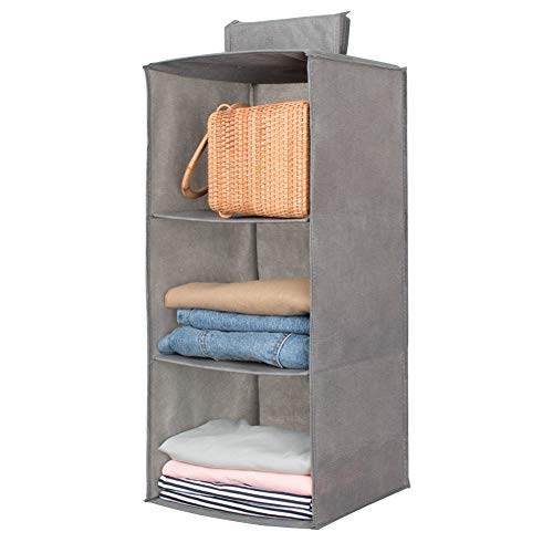 Hanging Closet Organizer,Sweater & sock Organizer with a Hook and Loops,Collapsible Storage Shelves for Clothes, pants and Shoes (Grey-3 - Sweater Hanging Organizer