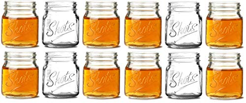 (Circleware 42784 Mini Mason Jar Heavy Base Glasses (Script Letters - 12)