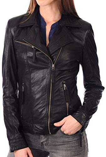 KYZER KRAFT Womens Leather Jacket Bomber Motorcycle Biker Real Lambskin Leather Jacket for Womens (Biker Jacket Leather Motorcycle)