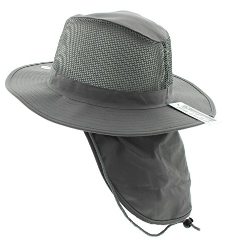 Mesh Flap Hat - Wide Brim Unisex Safari/Outback Summer Hat w/Neck Flap (Extra Large, Grey)