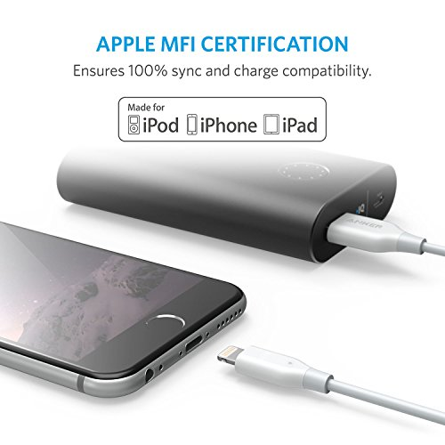 Anker Powerline Cable Lightning de 6 pies, certificado por MFi para iPhone Xs /XS Max /XR /X /8/8 Plus /7/7 Plus /6/6 Plus /5s /iPad, y más (blanco)