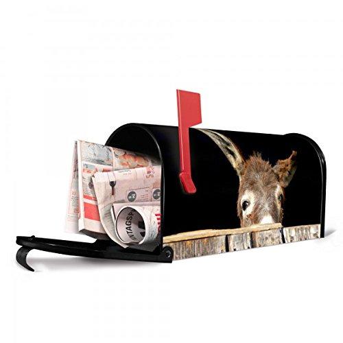 banjado - US Mailbox 17x22x51cm schwarz amerikanischer Briefkasten mit Motiv Esel, Briefkasten mit silbernem Standfuß