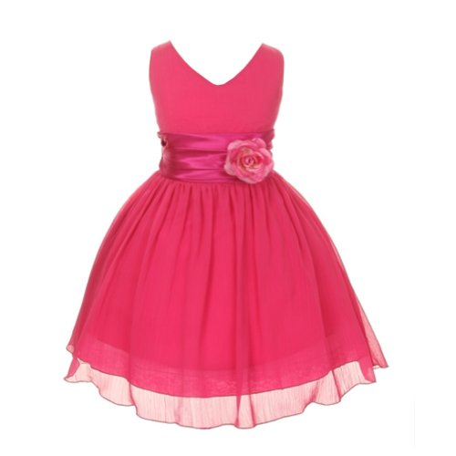 Kiki Kids Chiffon Double V Neck Flower Girl Dress, Made in USA (Size 6, Fuchsia) from Kiki Kids