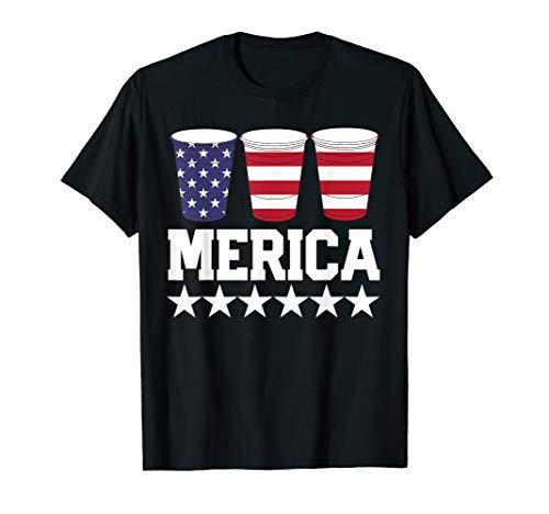 MERICA American Flag July 4th TShirt Beer Pong Drinking Cup