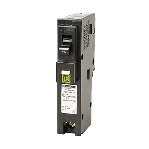 - Square D by Schneider Electric HOM120PCAFIC Homeline Plug-On Neutral 20 Amp Single-Pole CAFCI Circuit Breaker,