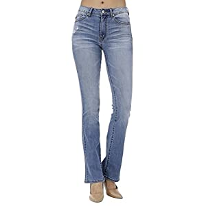 KAN CAN Women's High Rise Bootcut Jeans KC7111