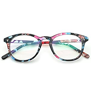 PenSee Womens Inspired Eyeglasses Glasses Frame Round Oval Circle Clear Lens (Blue Floral, Clear)