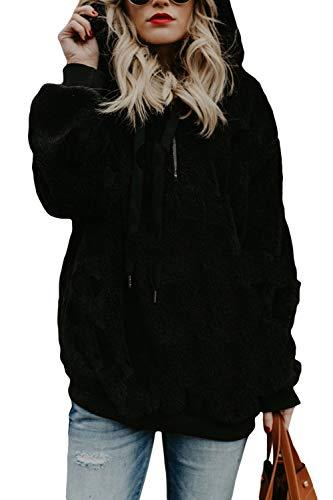 COCOLEGGINGS Womens Sherpa Hoodie Pullover Hooded Sweatshirt Outwear Black M