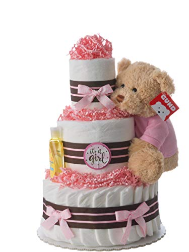 Handmade Baby Shower Diaper Cake - 12 inch x 10 inch - Beautiful Baby Shower Centerpieces for Girls with 42 Usable Swaddler Size Diapers - The Original 3 Tier Diaper Cakes Designed by Lil' Baby Cakes ()