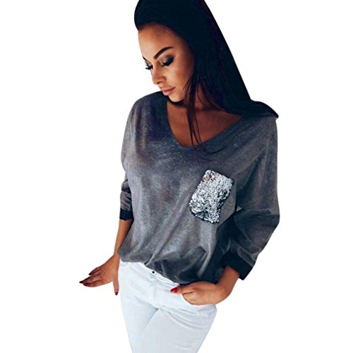 Women Pullover Sweatshirt,Napoo Casual V Neck Long Sleeve Shirt Loose Pocket Sequins Blouse Tops (XL, Gray)