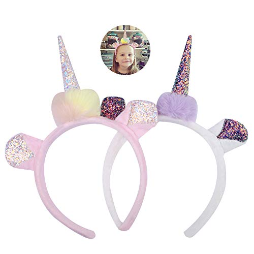 2 Pieces Unicorn Headbands, Glitter Horn Sequin Ears Headwear for Children Parents, Girls Birthday Party Outfit, Head Accessory for Christmas Decoration Cosplay Costume (2 Piece Headband)