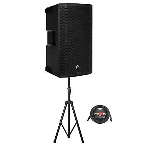 Rokit Powered 2 Way (Mackie Thump12A Two-Way Powered Loudspeaker with Rok-It Tubular Speaker Stand and 25 ft. Pig Hog 8mm Mic XLR Cable)