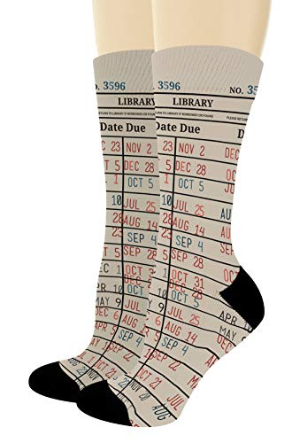 Nerdy Gifts Library Book Themed Socks Reading Accessories Book Lover Gifts 1-Pair Novelty Crew Socks
