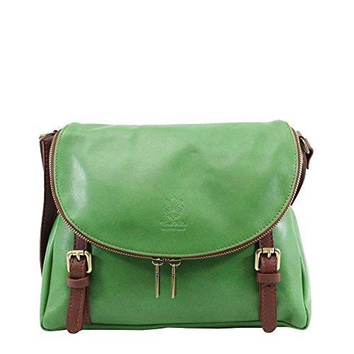 Hautefordiva , Damen Satchel-Tasche weiß M grün