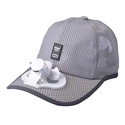 (Unisex USB Charging Belt Fan Baseball Golf Hat Storage Belt Switch Fan Cap Sun hat Peaked Cap/Panel on The Cap Front Hat(Light Grey))