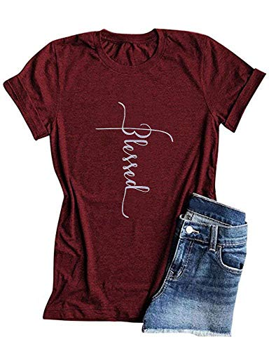 Qrupoad Women Blessed Graphic Tees Christian T Shirt Shirts for Religious Gift Burgundy